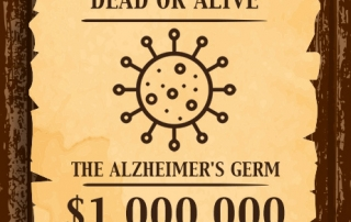 WANTED Dead or Alive The Alzheimer's Germ - a $1 million dollar reward for the scientist who provides persuasive evidence that an infectious agent is the root cause of Alzheimer's disease.